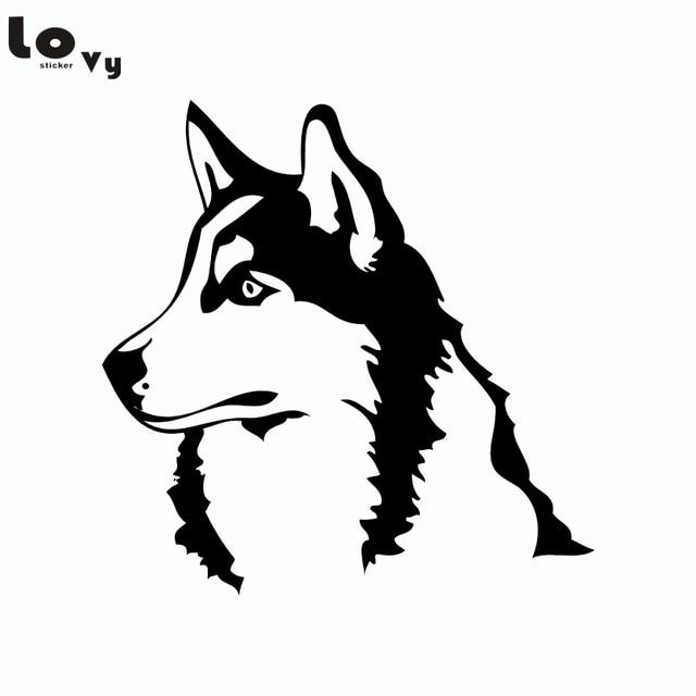 Husky Dog Siberian Malamute Silhouette Car Sticker Cartoon Pet Dog