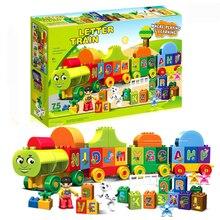 Big Size 75pcs Letters Train Building Blocks Sets DIY Educational Toys for Children gift Duploe City 188-23
