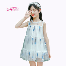 2019 New Girls Dresses Feather Print Princess Party Dress Children Clothing Summer Dress for Kids Girl Clothes 4 6 8 10 12 Years girls summer dresses kids print sundress for child clothes teenager print sleeveless dress infant clothing 6 8 10 12 13 years