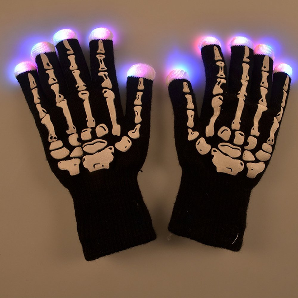 Black light gloves - Creative Hand Bone Led Glow Gloves Light Flashing Finger Lighting Mittens Magic Black Gloves Party Supplies