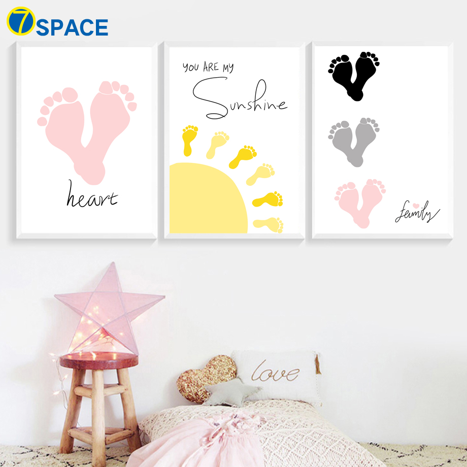 Cartoon Footprint Sun Quotes Nordic Posters And Prints Wall Art Canvas Painting Pictures For Kids Room Nursery Decor