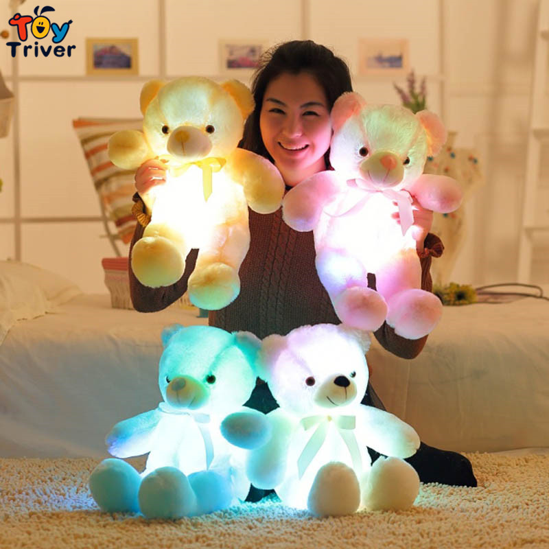 Triver Toy glowing luminous led light up toys stuffed plush bear doll cushion pillow birthday gift Kids baby girl home deco Gift plush colorful glowing led light luminous elephant toy stuffed doll pillow sleeping birthday gift for kids children baby triver