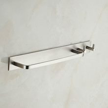 Space aluminum brushed towel bar plus hook double use Hotel bathroom coat rack door все цены