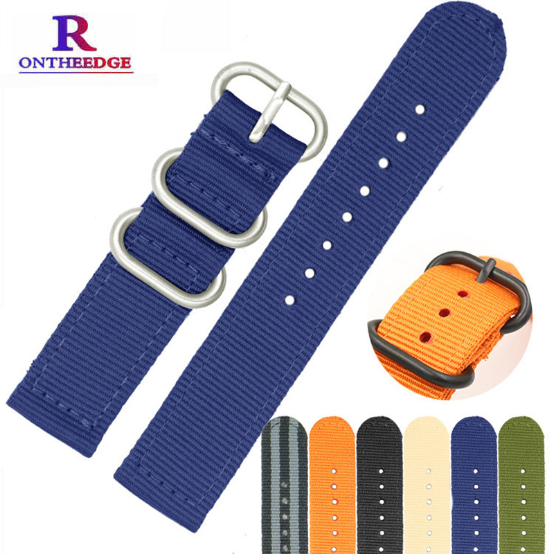 Wholesale 6 Color Heavy Duty Nylon Watchband NATO ZULU Strap 18mm 20mm 22mm 24mm Striped Rainbow Canvas Replacement Watch Band wholesale suunto core nylon diver strap band kit w lugs adapters armygreen 5 colours 24mm zulu nato watchbands