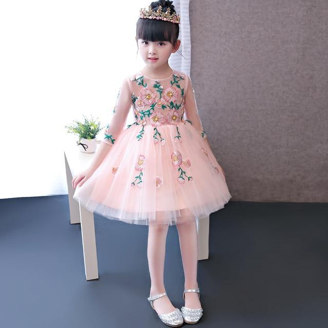 Glitz розовый тюль платье для девочек с коротким рукавом для девочек в цветочек праздничное платье принцессы Свадебное платье с аппликацией первого причастия