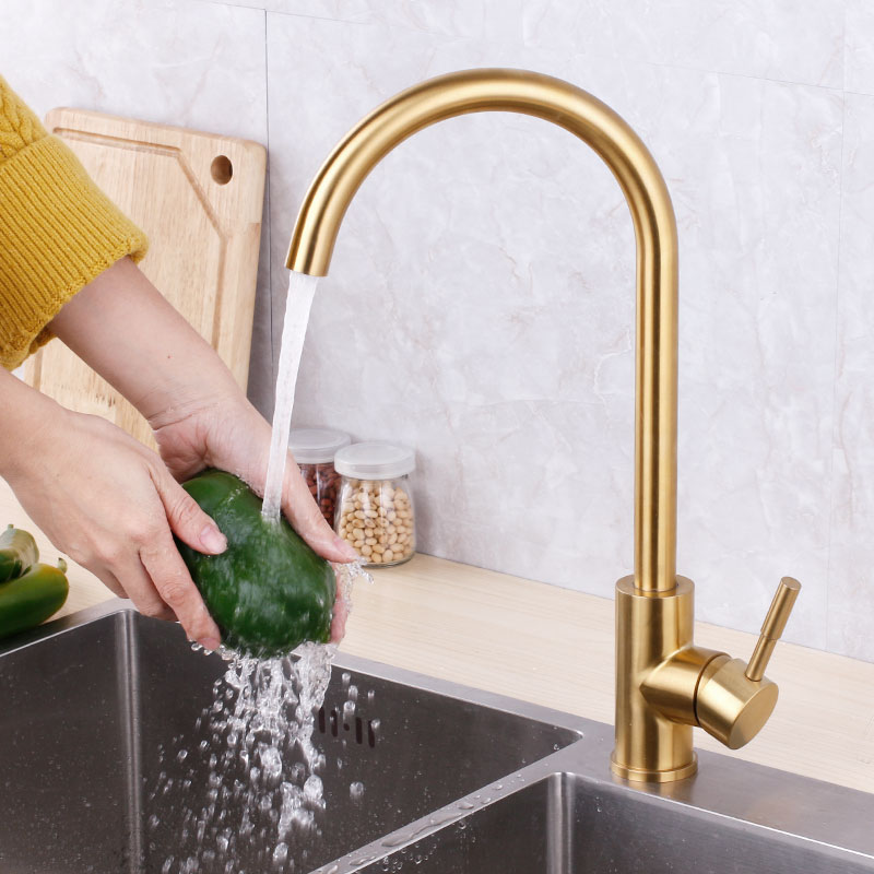 Champagne gold color luxury design kitchen sink bronze faucet hot and cold water type