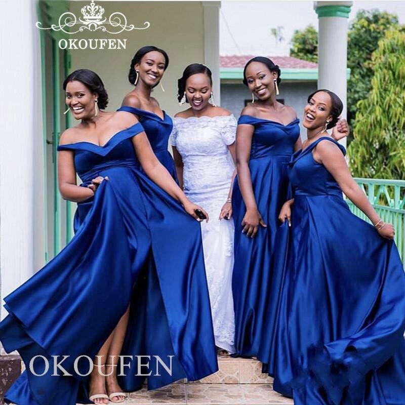 Royal Blue Satin Long   Bridesmaid     Dresses   2019 Off Shoulder Plus Size Women Side Split Party   Dress   Maid Of Honor Formal Gown