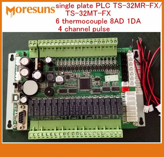 Fast Free Ship New single plate PLC TS-32MR-FX/TS-32MT-FX 6 thermocouple 8AD 1DA 4 channel pulse PLC Board