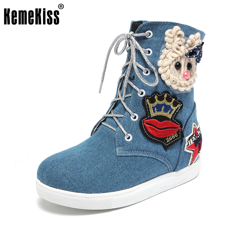 KemeKiss Women Round Toe Mid Calf Boots Woman New Design Cartoon Denim Short Boot Fashion Lace Up Flat Shoes Footwear Size 34-43 yanicuding round toe women mid calf boots short booties flower butterfly knot design super star lady runway shoes european style