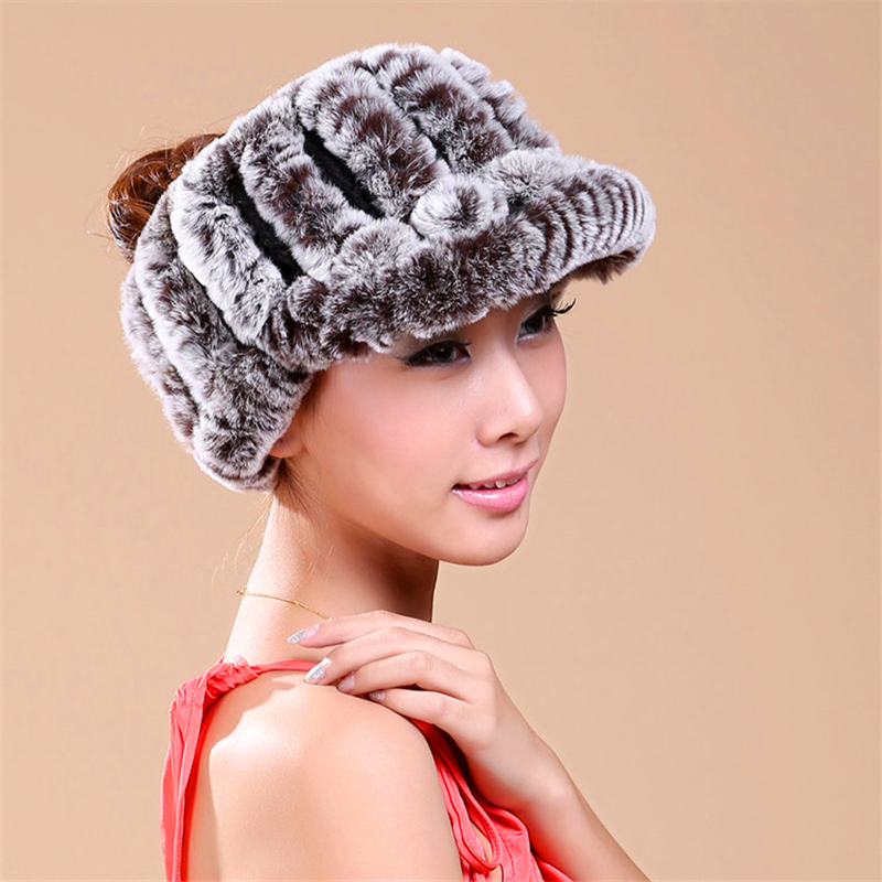 Women's Winter Hats Empty Top Design Real Rex Rabbit Fur Beanies Solid Knitted Caps Fashion Female