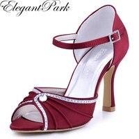 Kadın Ayakkabı Bordo Yüksek Topuk Toka Rhinestones Sandalet Saten Düğün Gelin Ayakkabıları Nedime Akşam Balo Parti EL-033 Pompalar