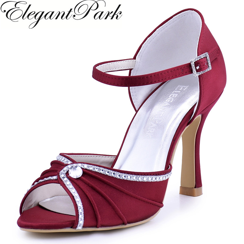 Woman Shoes Burgundy High Heel Buckle Rhinestones Sandals Satin Wedding Bridal Shoes Bridesmaid Evening Prom Party Pumps EL-033
