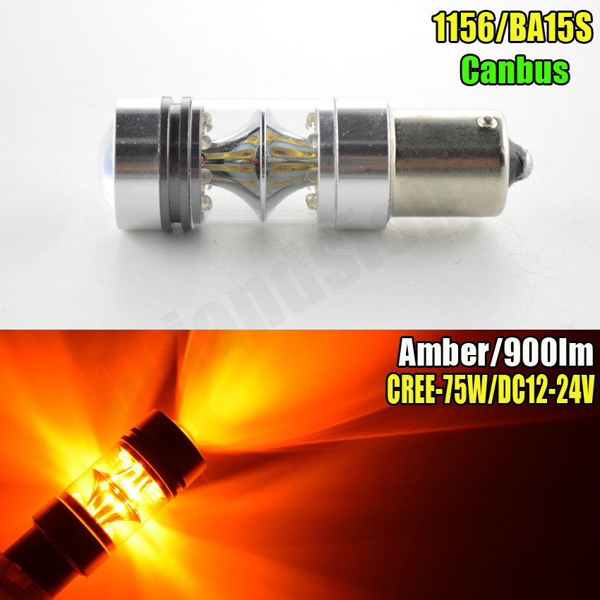 1piece 75W Amber 12V 24V Car BA15S 1156 7506 P21W Projector Lens Canbus LED Backup Revers Light Bulbs 900lm ruiandsion 2x75w 900lm 15smd xbd chips red error free 1156 ba15s p21w led backup revers light canbus 12 24vdc