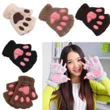 Women1 Pair Winter Ladies Girls Lovely Gloves Plush Warm Mittens Cute Cat Paw Short Fingerless Half Finger Glove FS99 cheap Gloves Mittens Adult Fashion Swokii 118538 Wrist Print Other