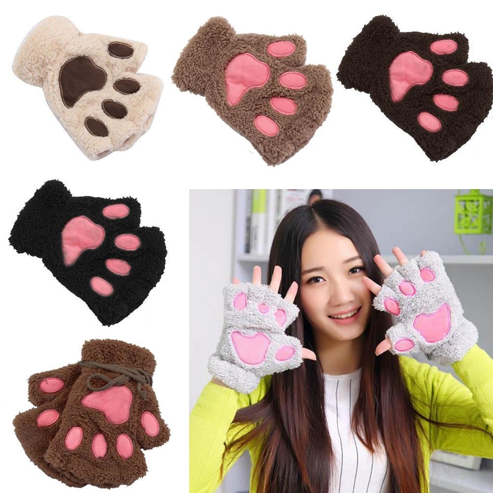 Women1 Pair Winter Ladies Girls Lovely Gloves Plush Warm Mittens Cute Cat Paw Short Fingerless Half Finger Glove FS99