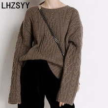 LHZSYY Cashmere sweater Autumn Winter New Womens Sweater Large size Solid color Twisted Wool Knit Pullover Warm Female Blouse