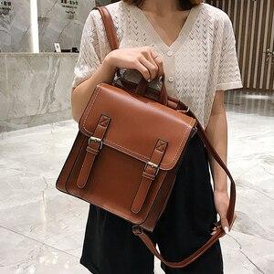 Image 2 - Vintage Backpack Female Pu Leather Bag Womens Backpack Fashion School Bag for Girls High Quality Leisure Shoulder Bag Sac A Dos