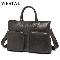 WESTAL NEW Simple Fashion Business Men Briefcases Genuine Leather Laptop Bag Casual Man Bag Briefcase Shoulder