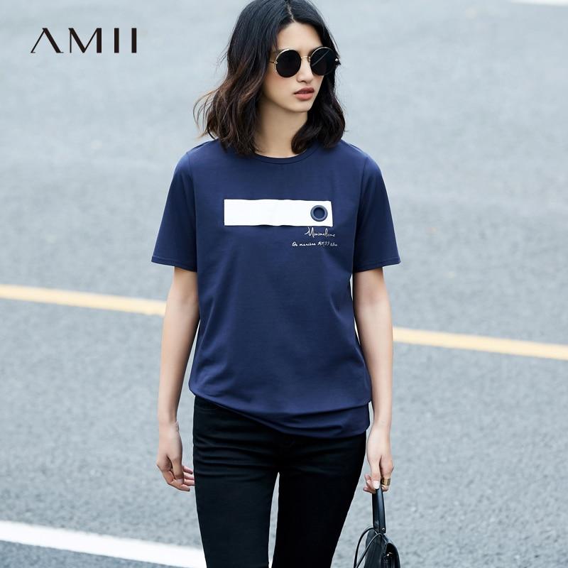 Amii Casual Women T-Shirts 2018 Summer Geometric Patchwork O-Neck Short Sleeve Tees Tops