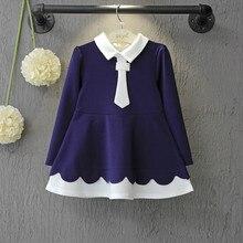 Girl sea wave navy blue dress autumn long sleeve tutu girls dresses Shirt shape princess school uniform Size for 2,3,4,5,6 Years