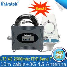 1 Set Gain 65dB FDD LTE 2600 Band 7 Cell Phone Signal Booster 2600 LTE signal amplifier repeater with 3G 4G Antenna 10m Cable