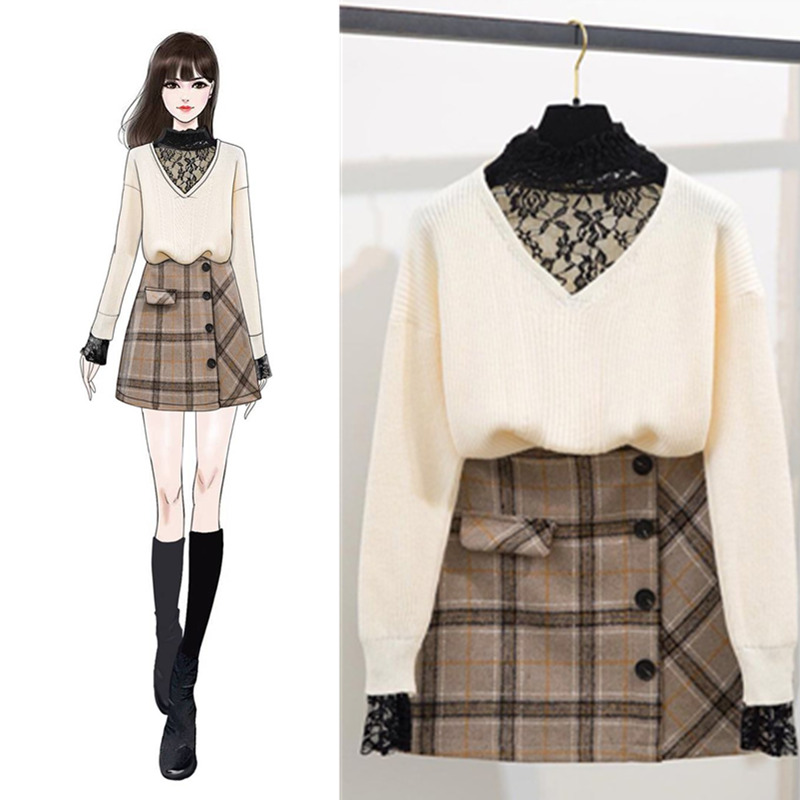 2019 Spring Women Long Sleeves Lace Patchwork Knitted shirts Plaid Skirts 2 pcs sets Student Young