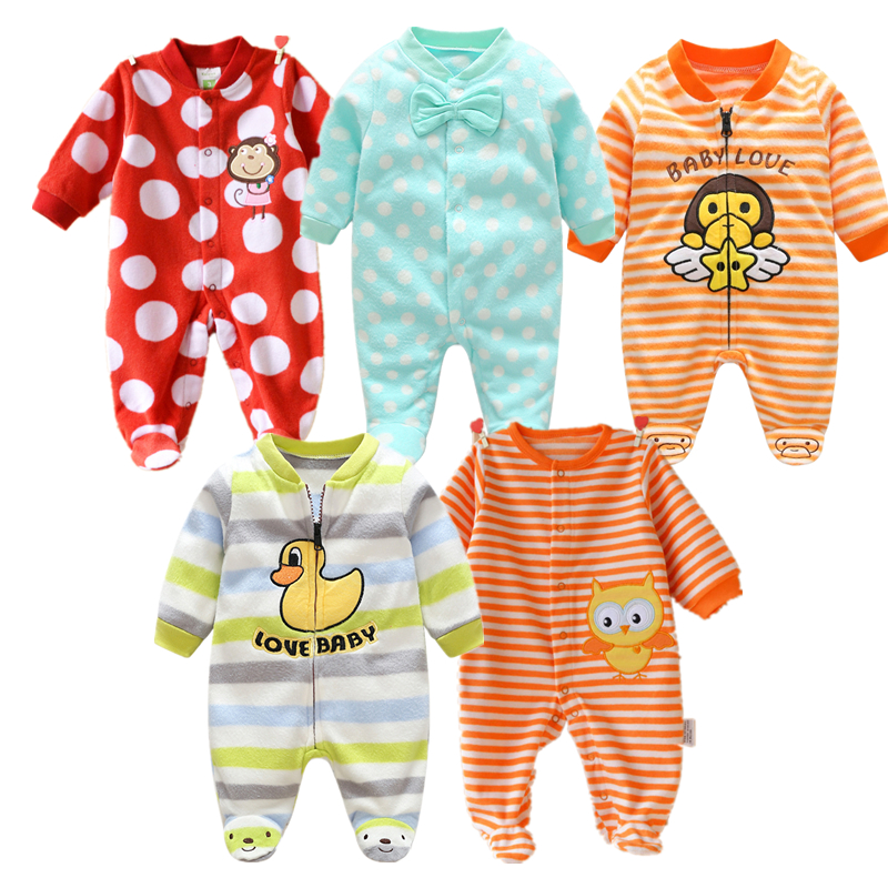 Newborn Fleece Baby Rompers Colorful Baby Boys Girls Clothing Spring Autumn New Born Jumpsuits Roupas Bebes Baby Girls Clothes 2017 new baby girls
