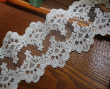 13cm 5.118wide(3yards/lot) High Quality Off White Organza Lace Trim Alencon Corded Exquisite Wedding Bridal