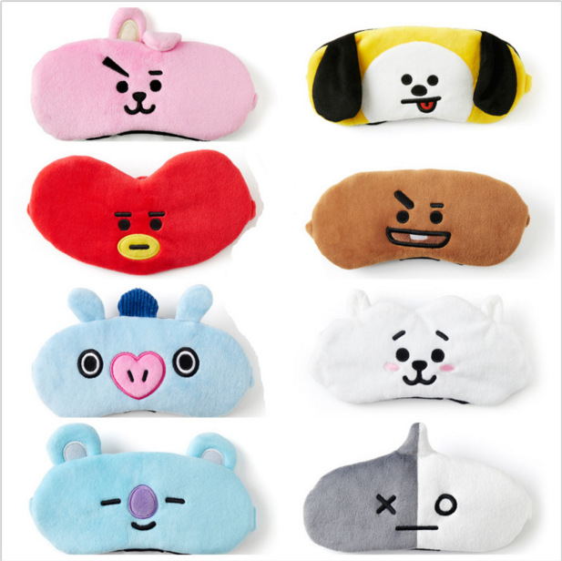 [MYKPOP]BTS BT21 Cartoon Eye Mask Travel Eyeshade V SUGA J-HOPE JIN JIMIN RM JUNGKOOK Toy Gift SA18040801 цена
