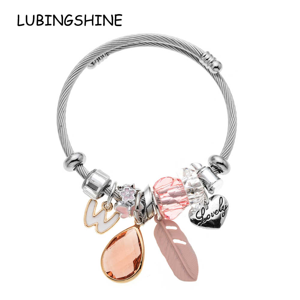 LUBINGSHINE Antique Charm Adjustable Bracelets & Bangles letter W Crystal Love Women Beads Bracelets Wedding Jewelry Pulseiras