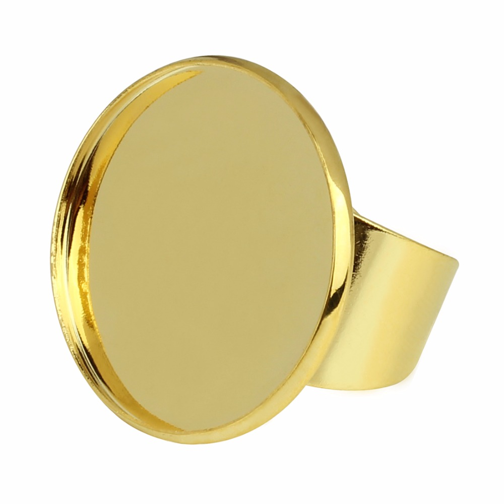 5pcs lot 16 18 20 25mm Adjustable Copper Open Ring Base Gold Silver Color Round Cabochon Base Settings Cameo Tray Bezel Pad in Jewelry Findings Components from Jewelry Accessories