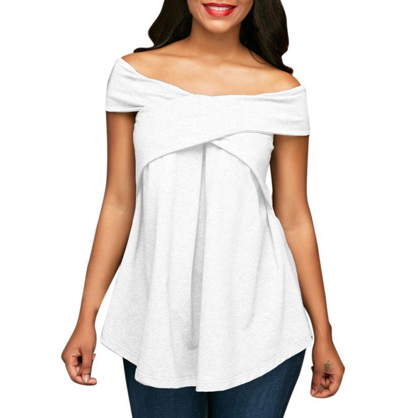 Women Off The Shoulder Short Sleeve Sweatshirt Pullover Tops Blouse Shirt Womens Clothing Fashion S-XL 2018 Spring Summer Ja 25
