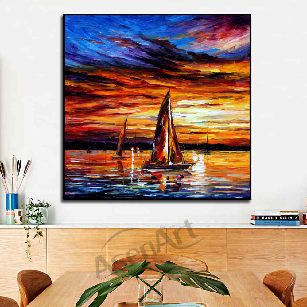Modern Matahari Terbenam Yang Indah Kapal Laut Perahu Layar Pisau Di Atas Kanvas Gambar Dinding untuk Ruang Tamu Kamar Tidur Dinding Decor Unframed