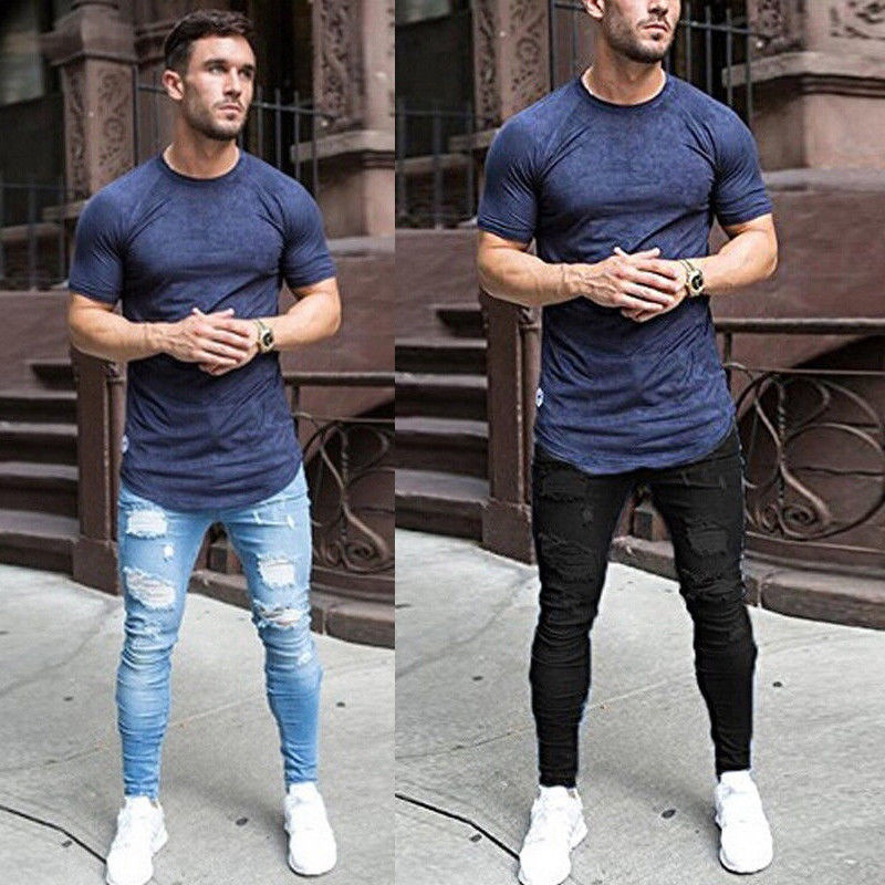 Mens Jeans Brand Popular Destroyed Ripped Jeans Elastic Slim Pencil Jeans Summer Lightweight Cotton Ankle Tight Denim Pants 2019