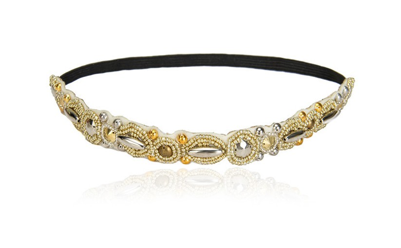 Vintage Bohemian Ethnic Gold Metal Beads Cream Flower Crystal Rhinestone Handmade Elastic Headband Hair Band Hair Accessories vintage bohemian ethnic colored tube seed beads flower rhinestone handmade elastic headband hair band hair accessories