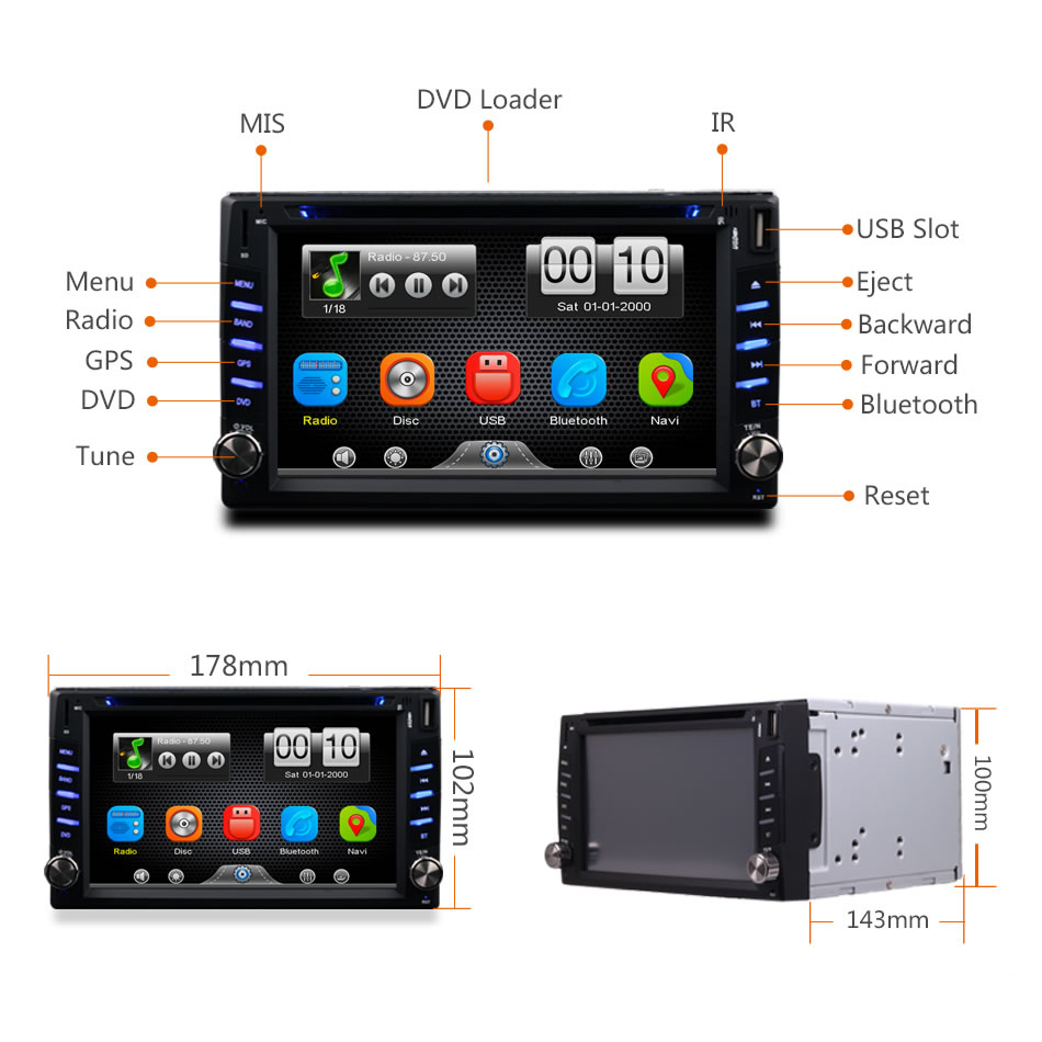 2Din Universal Car In Dash GPS Navigator Bluetooth Radio CD DVD MP3 Video Media Player Head Unit Stereos 6.2 Inch Touch Screen