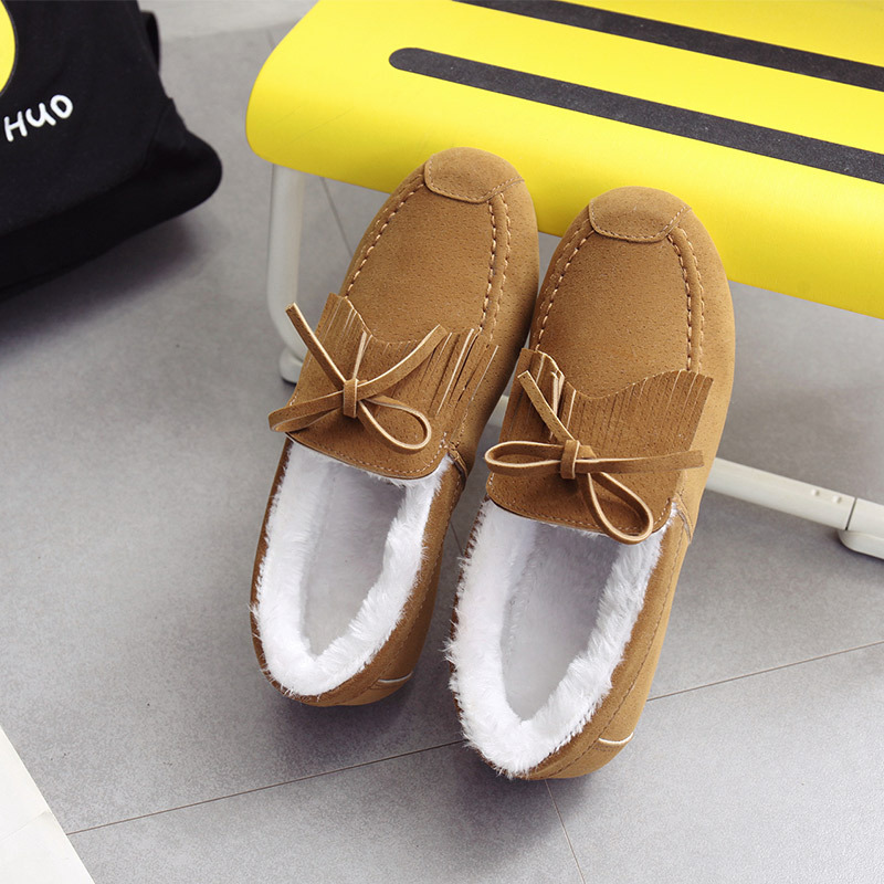 434439d3661 Fashion NEW Women Winter Fur Lined Women Suede Loafers Slip-on Ladies  Moccasins Soft Warm Plush Flat Driving Loafers Boat Shoes