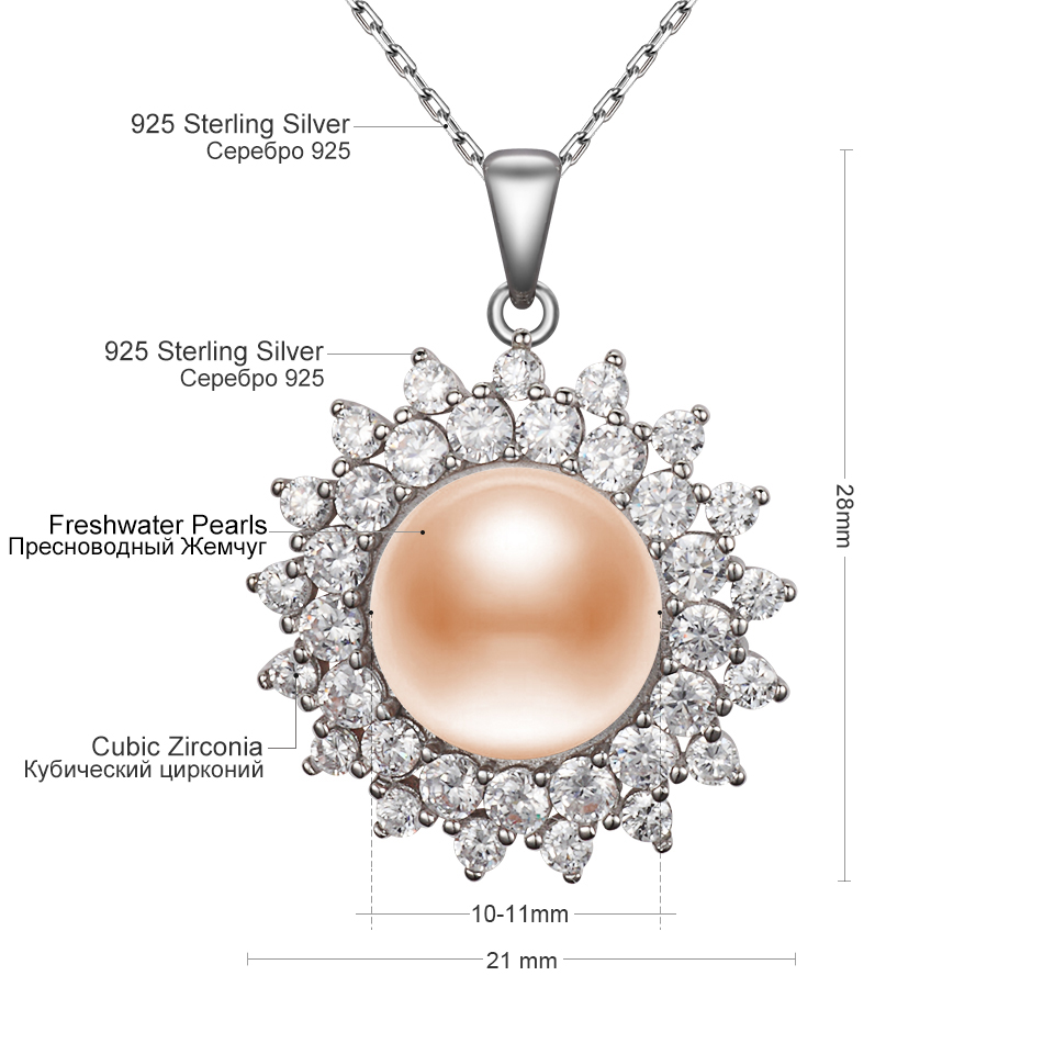 Natural pink pearl pendant necklaces for women gift 10mm freshwater natural pink pearl pendant necklaces for women gift 10mm freshwater pearl 925 sterling silver chain cubic zirconia jewelry feige in necklaces from jewelry aloadofball