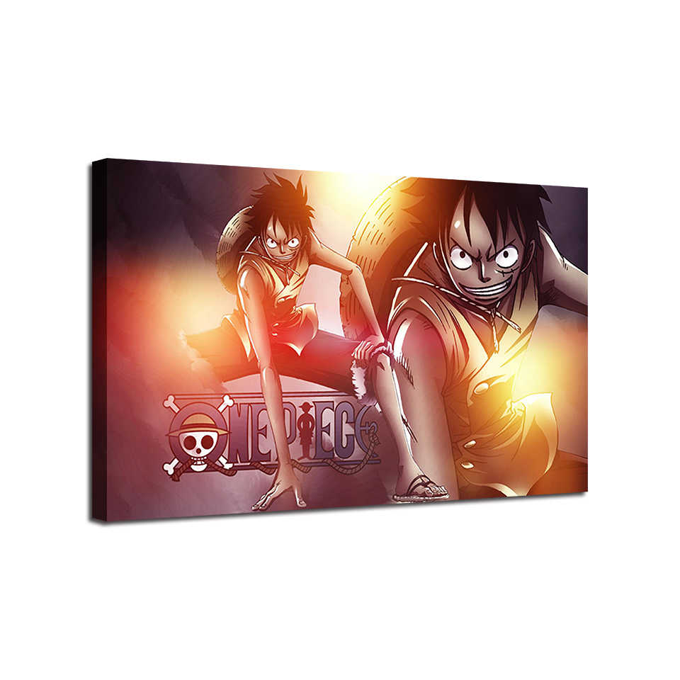 HD Prints Paintings Canvas Living Room Decor 1 Piece/Set Anime One Piece Poster Monkey D Luffy Pictures Modern Wall Art Frame
