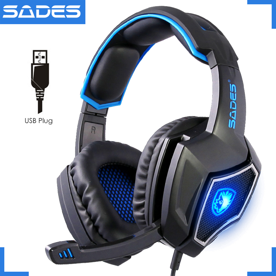 Original SADES Spirit Wolf USB Notebook Gaming Headset Luminous 7.1 Stora datorspel hörlurar med mikrofon
