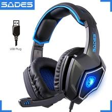 Оригинальный SADES дух волка USB тетрадь игровая гарнитура световой 7,1 большой компьютерные игры наушники с микрофоном