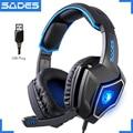 Original SADES Espíritu Lobo USB Portátil Gaming Headset Luminosa 7,1 Juego De Ordenador Grande Auriculares Auriculares Con Micrófono