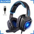 Original SADES Spirit Wolf USB Notebook Gaming Headset Luminous 7.1 Big Computer Game Headphones With Microphone
