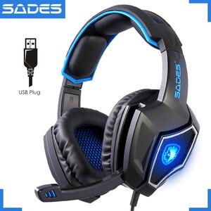 Image 1 - SADES auriculares de portátil para Gaming USB con micrófono, dispositivo Original, luminoso, 7,1