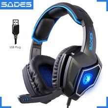 기존 sades spirit wolf usb 노트북 게임용 헤드셋 luminous 7.1 마이크가있는 대형 컴퓨터 게임 헤드폰