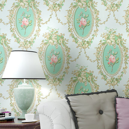 European-style garden mirror non-woven wallpaper vintage flower wallpaper shop for living room bedroom sofa background wallpaper 0 53x10m modern blue gray green simple non woven wallpaper living room bedroom wedding room shop decoration wallpaper