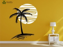 цена на Modern Design Wall Decal Holiday Vinyl Wall Stickers Exotic Palm Tree & Sunset Pattern Art Mural Bedroom Livingroom Decor SY169