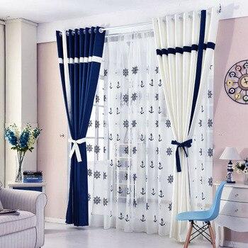 Einfache Stil Fenster Vorhang Feste Nähte Blackout Blau Und Weiß Vorhang  Für Wohnzimmer Schlafzimmer Tüll Vorhänge Jalousien