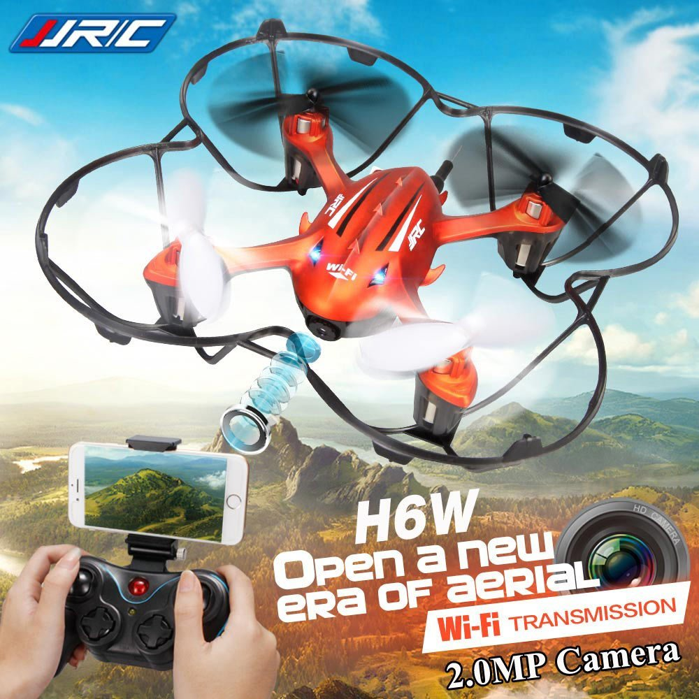 JJRC H6W 4-CH Wifi FPV Real-time Transmission Drone with CF Headless Mode 6-Axis Gyro 2MP FPV Camera RTF RTF headless mode jjrc h20w hd 2mp camera drone wifi fpv 2 4ghz 4 channel 6 axis gyro rc hexacopter remote control toys nano copters