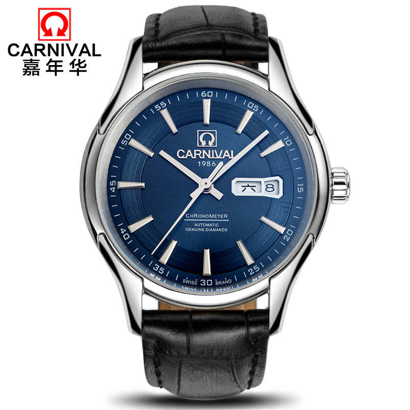 CARNIVAL Luxury Mens Watches Top brand Automatic Watch men Week Calendar Sapphire Waterproof fashion business mechanical watch wrist switzerland automatic mechanical men watch waterproof mens watches top brand luxury sapphire military reloj hombre b6036